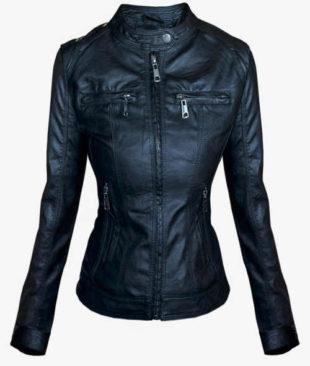Čierna kožená bunda pre plnoštíhle