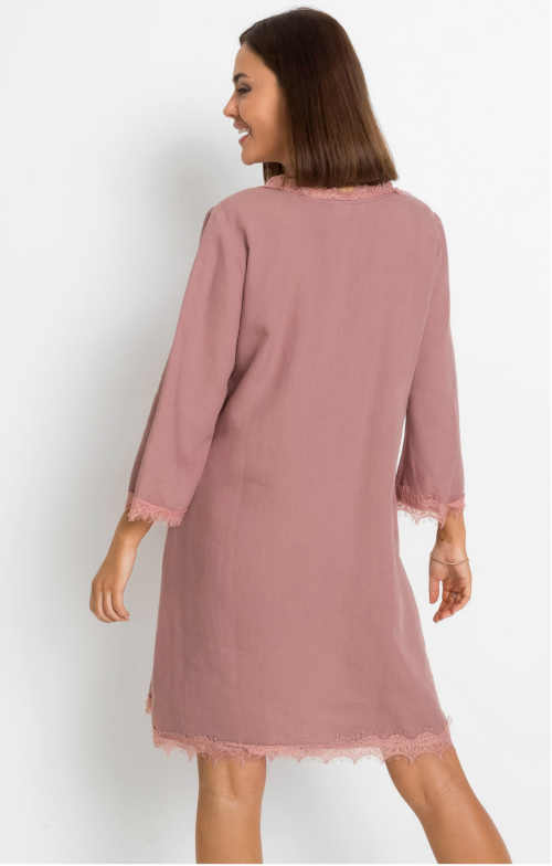 Ľanové dámske šaty s čipkou