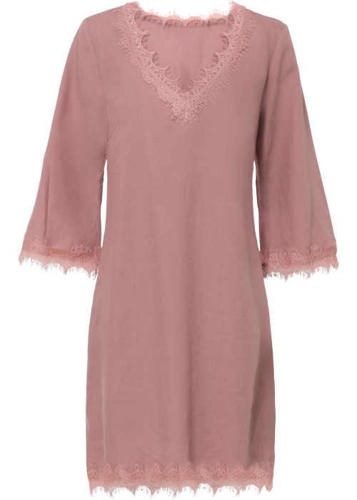 Ľanové šaty s čipkovou vložkou