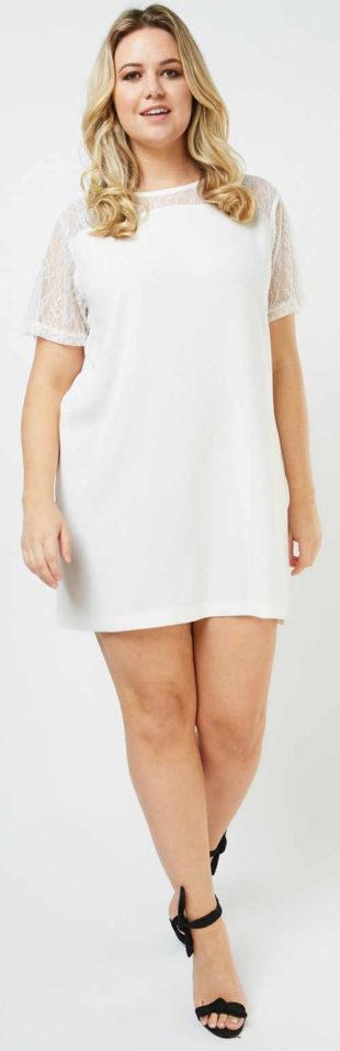 Biele letné šaty pre plnoštíhle rovného strihu