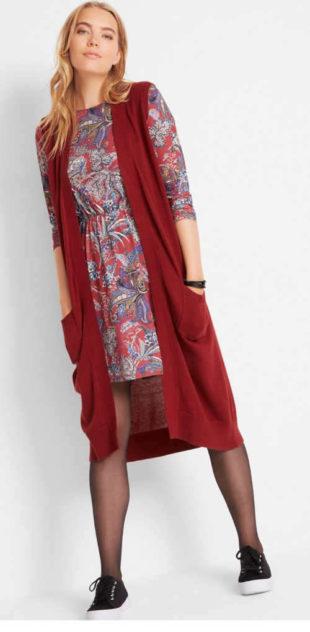 Dámska dlhá pletená vesta s praktickými vreckami