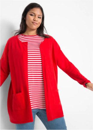 Dámsky sveter bez zapínania s vreckami