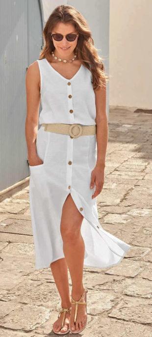 Dlhá letná sukňa s gombíkmi na prednej strane