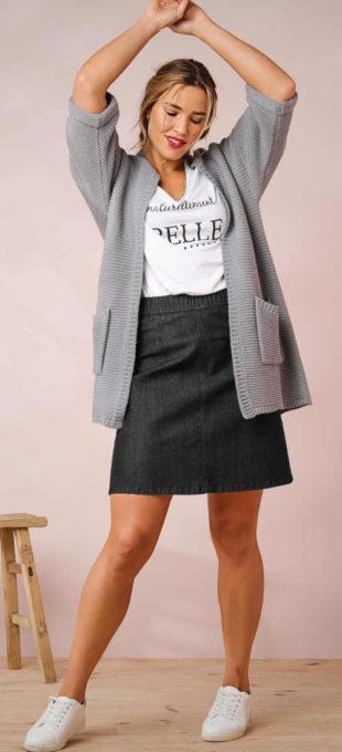 Džínsová sukňa s pružným pásom pre plnoštíhle