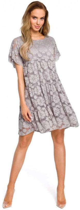 Elegantné krajkové šaty s krátkym rukávom v módnych farbách