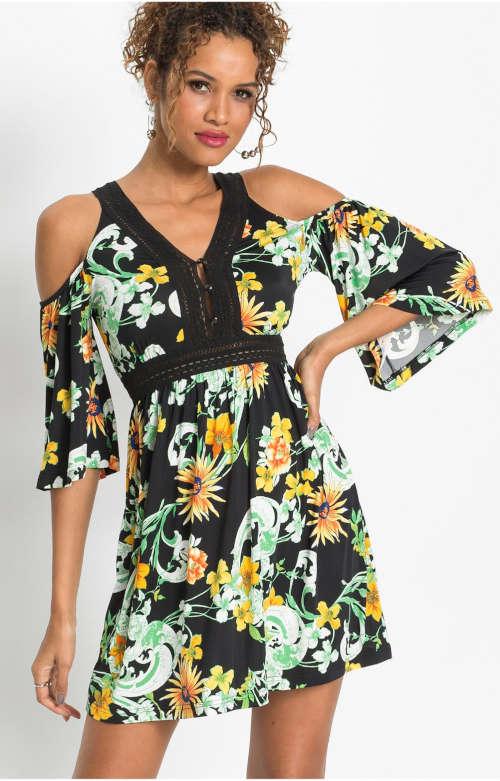 Moderné šaty s kvetinovým vzorom v rafinovanom strihu