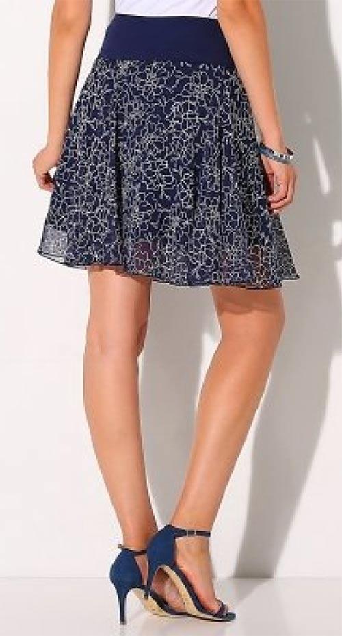 Modrá dámska letná sukňa