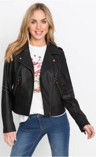 Motorkárska dámska bunda s nitmi