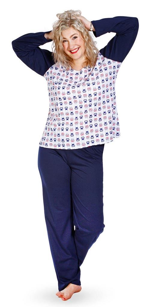 Pohodlné dámske pyžamo z bavlneného úpletu