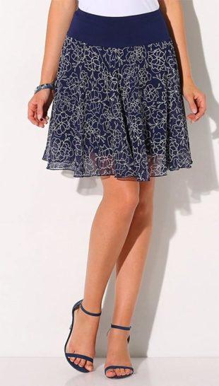 Rozšírená letné sukne s potlačou kvetín