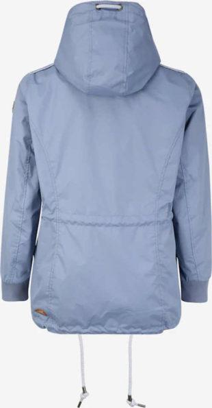 Šedomodrá dámska prechodová bunda s kapucňou