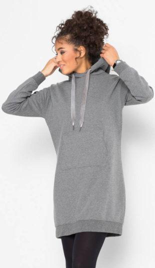 Teplé mikinové šaty s klokaním vreckom