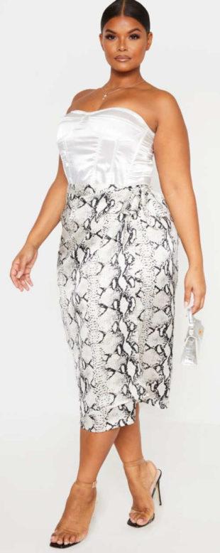 Zavinovacie sukne pre plnšie tvary s motívom hadej kože