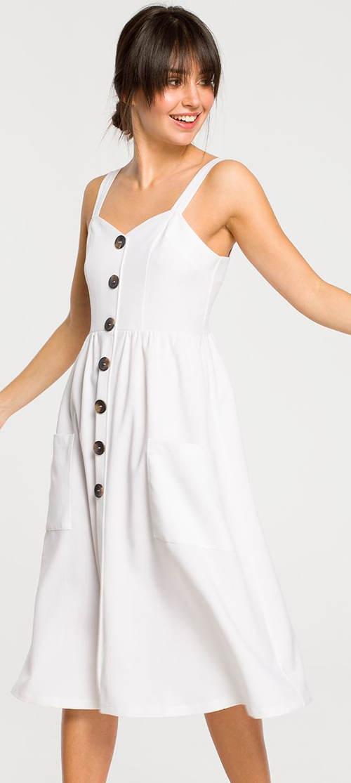 Biele letné šaty s ozdobnými gombíkmi