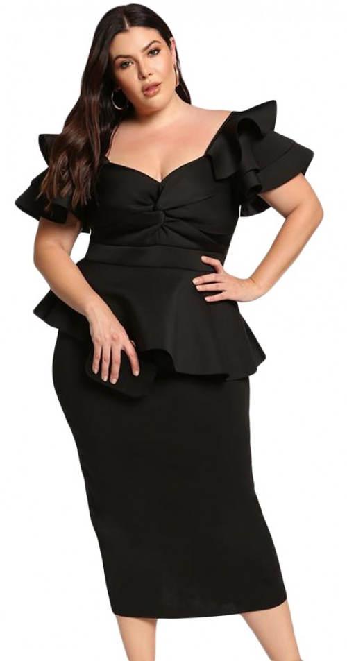 Čierne spoločenské bohato zdobené midi šaty