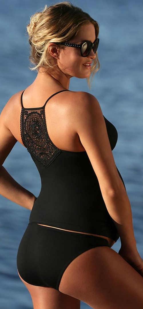 Čierne tehotenské plavky tankiny s čipkou na chrbte