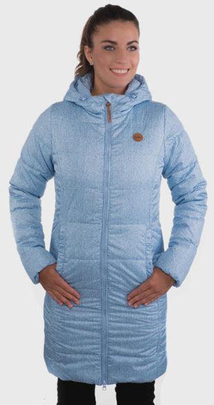 Dlhá modrá dámska zimná bunda
