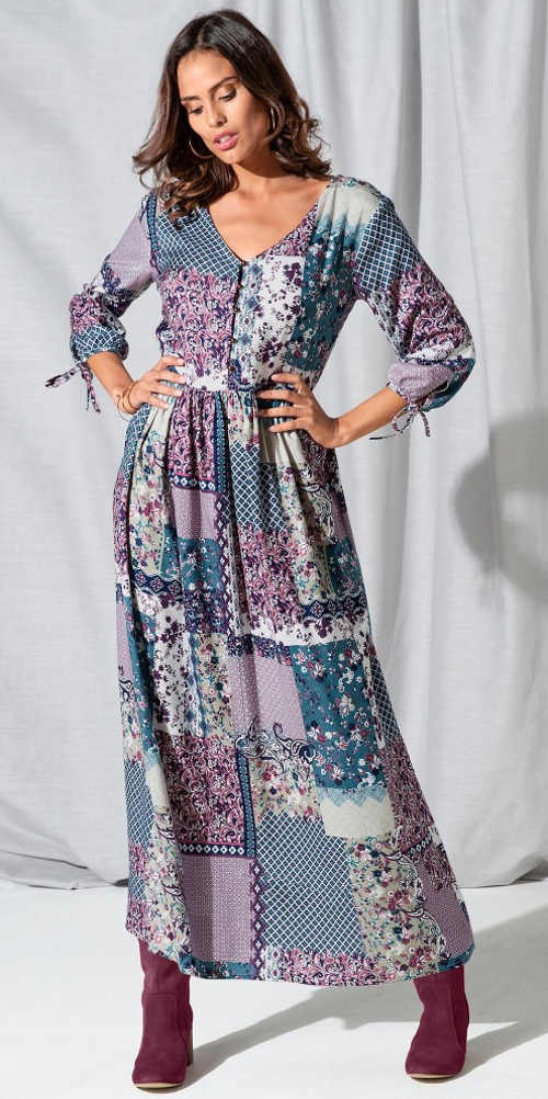 Dlhé dámske šaty v patchwork dizajne