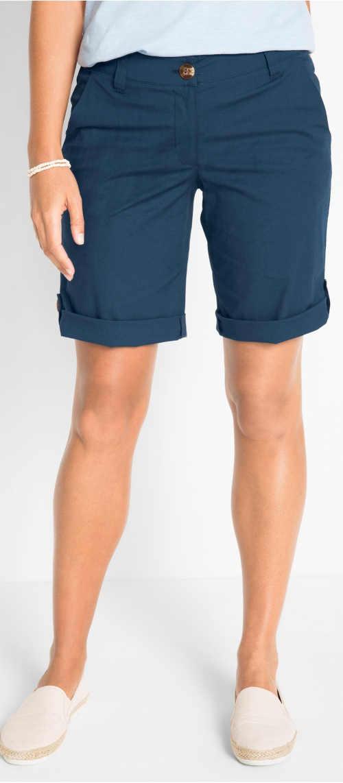 Jednofarebné modré strečové bermudy s dĺžkou nad kolená