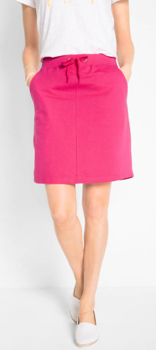 Úpletová tepláková sukne pre plnoštíhle