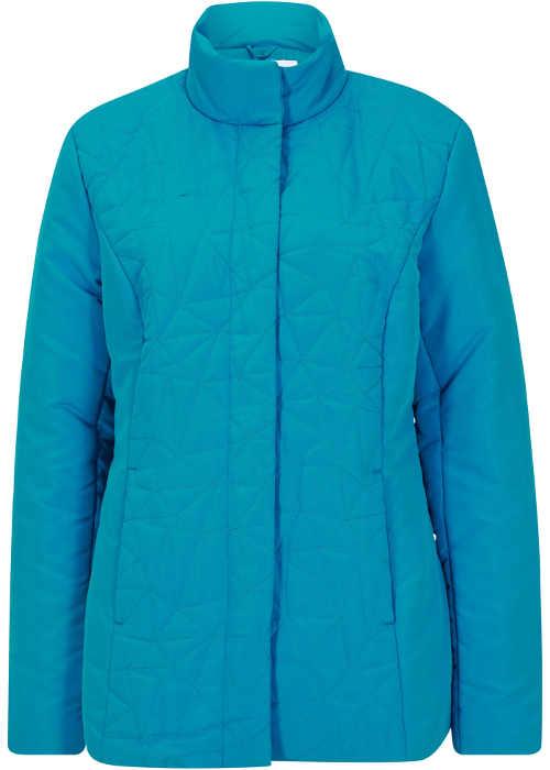 Vatovaná zimná bunda s krásnym prešívaním v tyrkysovej farbe