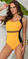 Žlté športové jednodielne plavky pre väčšie poprsie