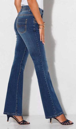 Strečové bootcut džínsy v ošúchanom vzhľadu