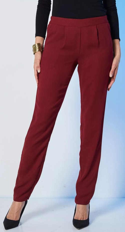 Vzdušné dámske jednofarebné nohavice lacno
