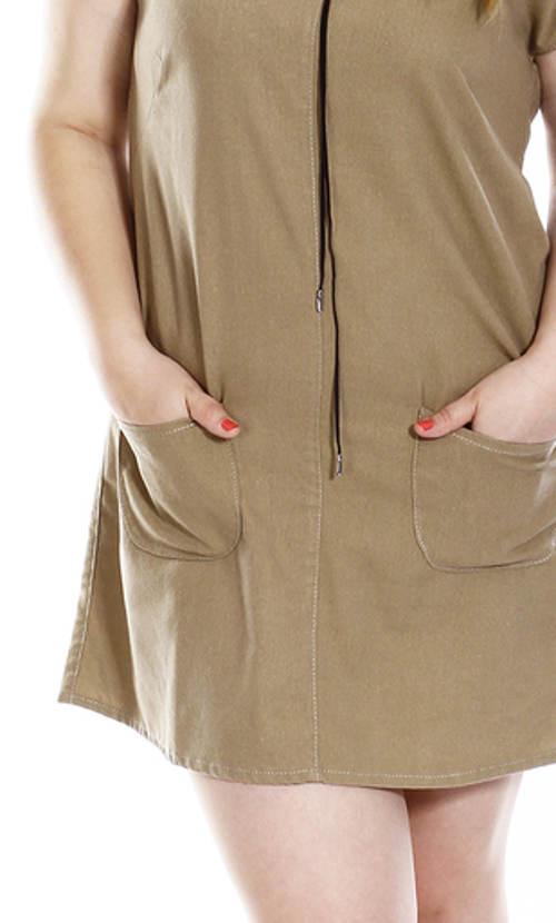 Béžové ľanové šaty s vreckami