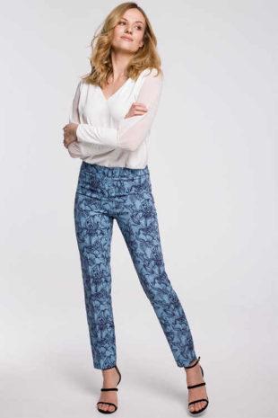 Moderné nohavice s kvietkovaným vzorom a pružným pásom