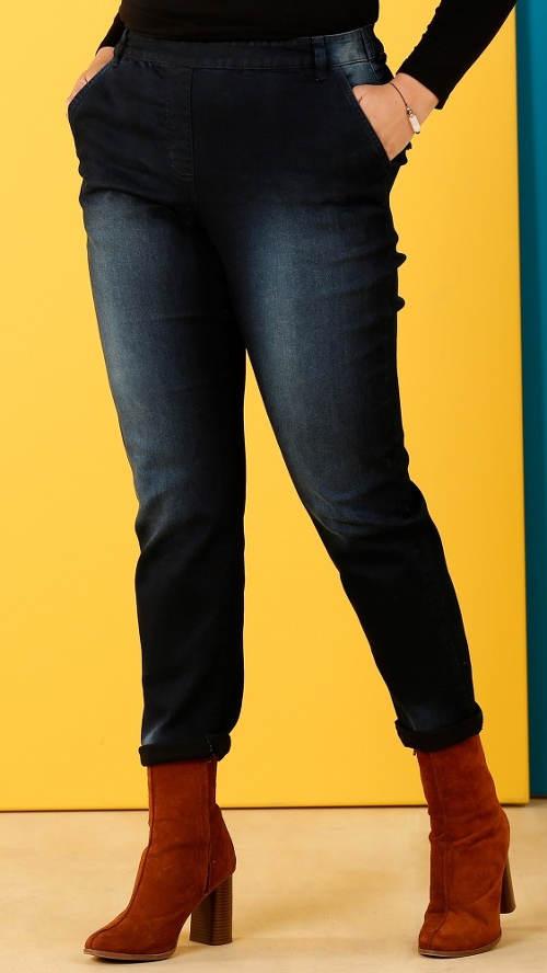 Riflové nohavice pre plnoštíhle s pružným pásom