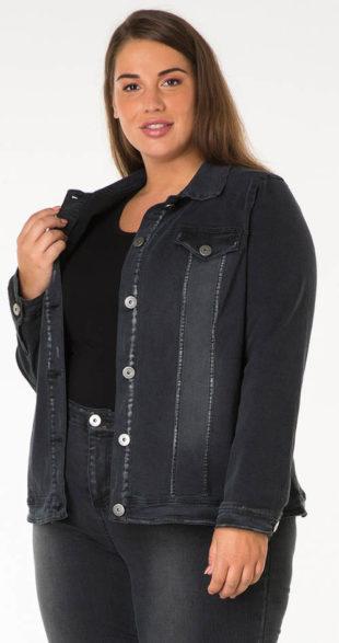 Tmavá džínsová bundička pre plnšie tvary