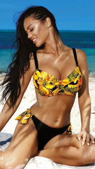 Žlto-čierne dvojdielne plavky Dolores pre veľké prsia