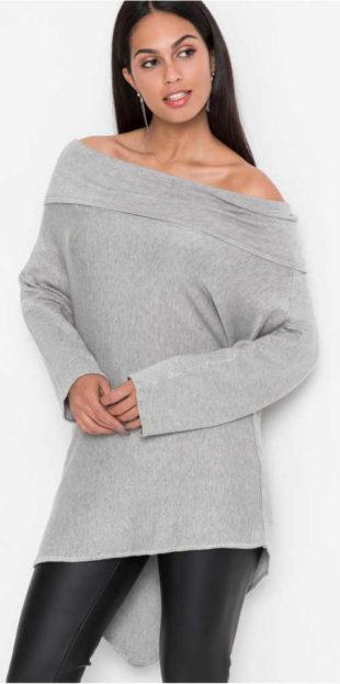Asymetrický oversized dámsky sveter Carmen s holými ramenami