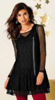 Čierne krajkové tunikovej šaty