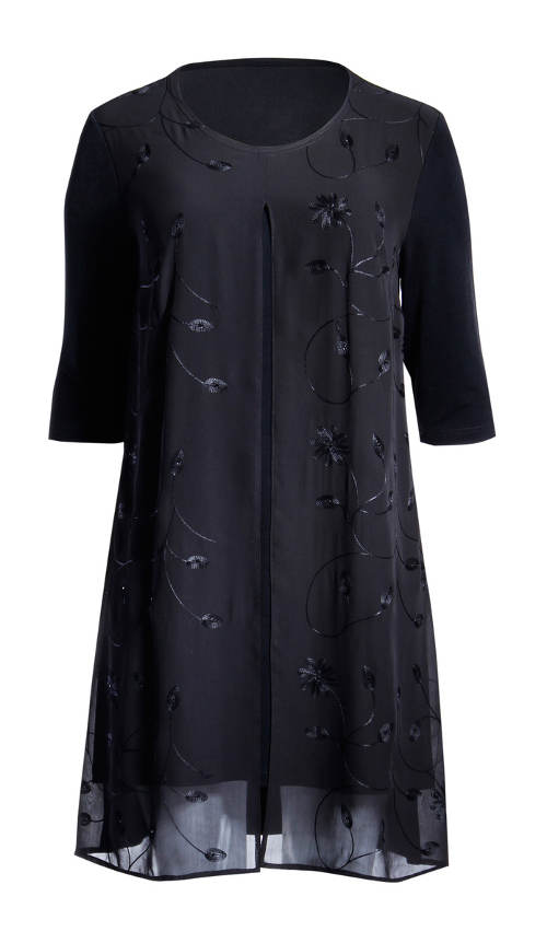 Čierne tunikovej šaty pre plnoštíhle