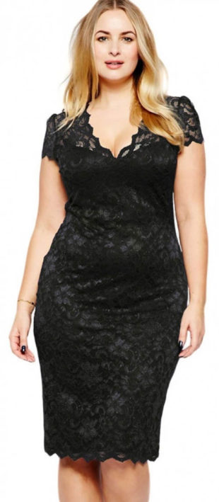 Čipkované midi čierne plesové šaty pre plnoštíhle