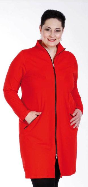 Dlhšie červená mikinová bunda