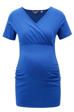 Modré tehotenské tričko s všitou gumou pod prsiami