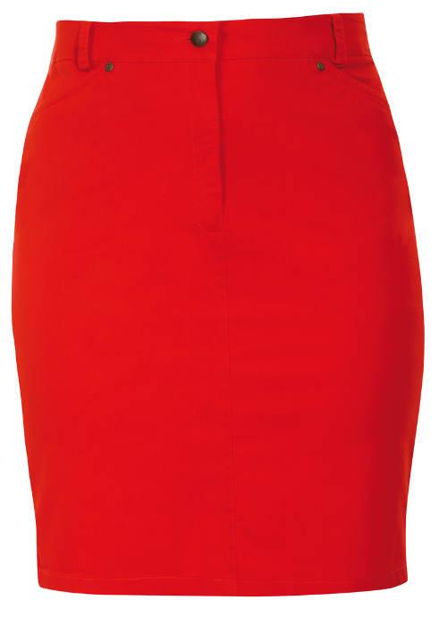 Strečová letná sukne pre plnoštíhle