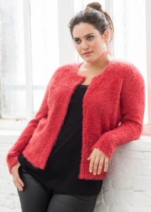 Zamatový červený dámsky sveter