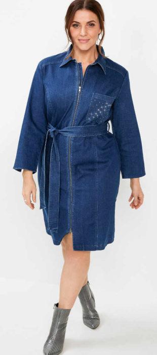 Dámske džínsové šaty s opaskom a zapínaním na zips
