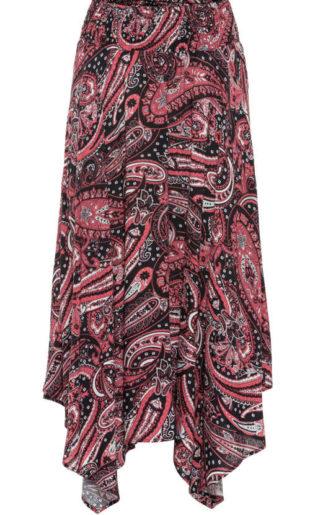 Farebná sukňa s volánovým lemom na gumu v páse