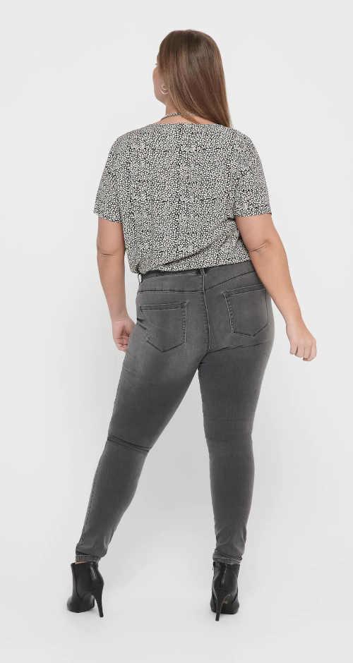Moderné dámske džínsy v sivej farbe
