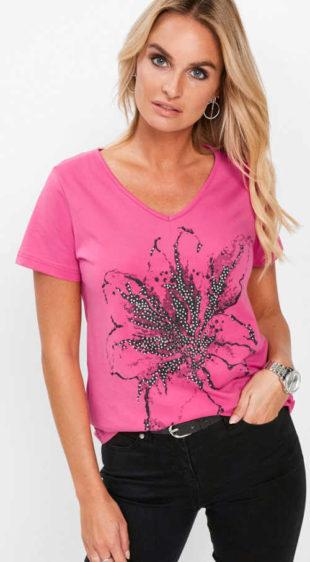 Ružové dámske tričko s potlačou a kamienkami