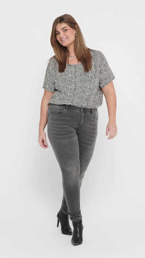 Sivé kvalitné dámske džínsy