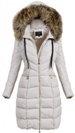 Béžová predĺžená dámska zimná bunda