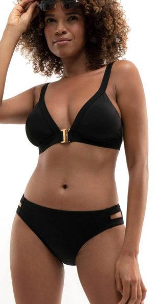 Čierne dámske dvojdielne plavky s nevystuženými košíčkami
