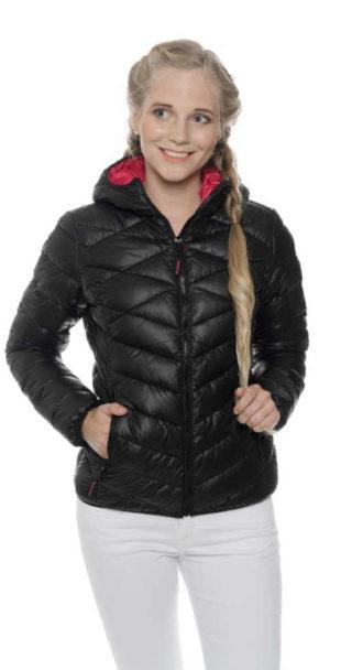Dámska prešívaná bunda do pása s praktickou kapucňou