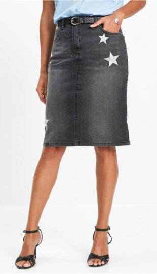 Džínsová sukňa s lemovkou pre plnšie tvary